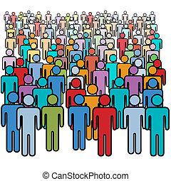 groupe, foule, gens, grand, couleurs, social, beaucoup