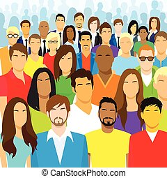 groupe, foule, gens, grand, figure, divers, désinvolte
