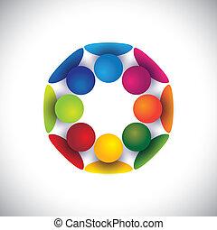 groupe, gens, enfants, communauté, ou, vecteur, cercle, jouer
