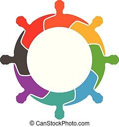 groupe, gens, ensemble, autre, étreindre, chaque