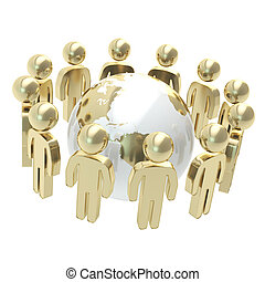 groupe, gens, globe, symbolique, entourer, la terre