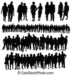 groupe, gens, grand, couple, vecteur, silhouette