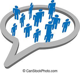 groupe, gens, média, parole, social, bulle, parler