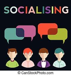 groupe, gens, média, parole, social, bulles
