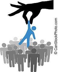 groupe, gens, main, personne, trouver, sélectionner