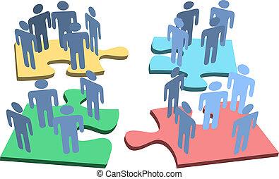 groupe, gens, puzzle, solution, morceaux, humain, organisation