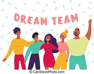 groupe, gens, text., jeune, teamwork., équipe, rêve
