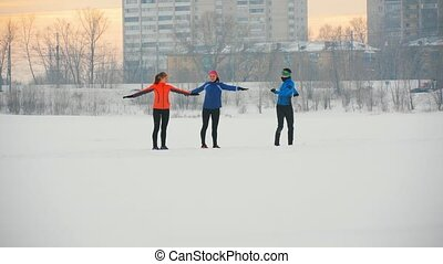 groupe, glace hiver, champ, athlètes, exercice