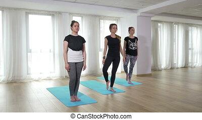 groupe, gymnase, jeune, yoga, séance entraînement, exercice, femmes