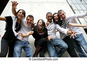 groupe jeunesse, poser, photo