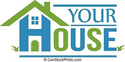 groupe, maison, logo., maisons