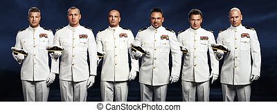 groupe, mer, 6, expédier capitaine, beau