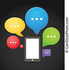 groupe, mobile, moderne, téléphone, parole, nuages, couleur