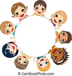 groupe, multi-ethnique, enfants