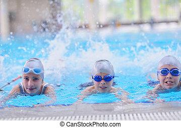 groupe, natation, enfants, piscine