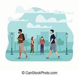 groupe, parc, masques, monde médical, gens, porter