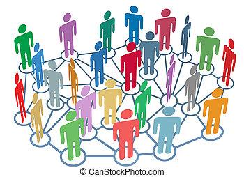 groupe, réseau, gens, média, social, beaucoup, parler