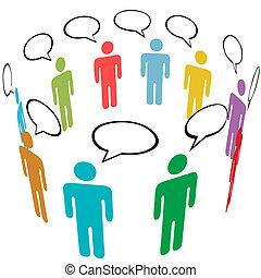 groupe, réseau, gens, média, symbole, couleurs, social, parler