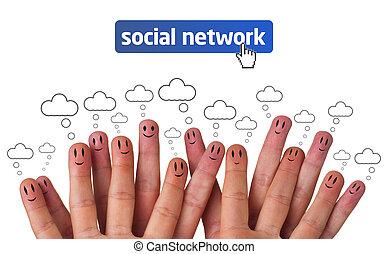 groupe, réseau, smileys, doigt, social, heureux, icône