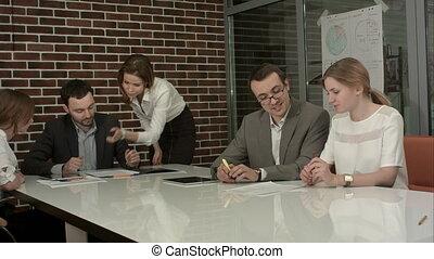 groupe, salle, professionnels, ensemble, brain-storming, réunion