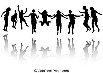 groupe, sauter, silhouette, enfants
