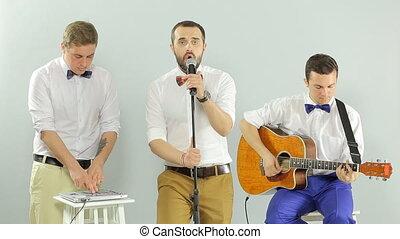 groupe, studio, fond, performance, blanc, musical