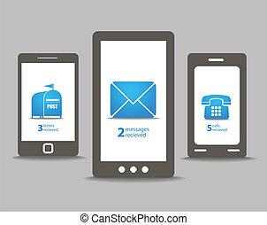 groupe, téléphones mobiles, moderne, parole, nuages