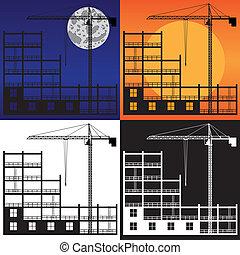 grue bâtiment, construction., levage, sous