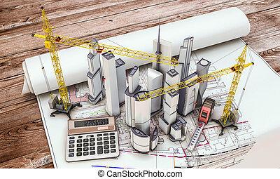 grue bâtiment, construction, sous