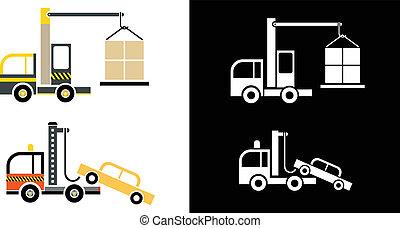 grue, camion, remorquage