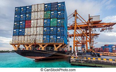 grue, cargaison, fonctionnement, récipient, fret, chargement, bateau