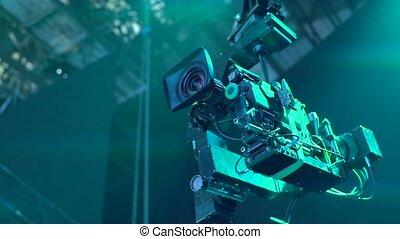 grue, suspension, studio, pendant, télécaméra, émission