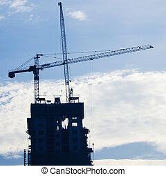 grues, bâtiment industriel, construction