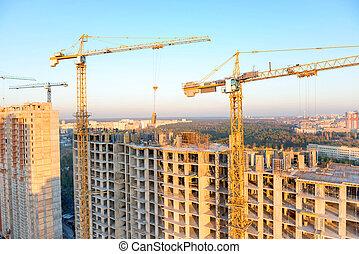 grues, site, bâtiment industriel