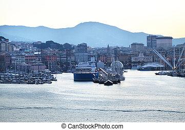grues, vieux, crépuscule, panorama, levers de soleil, tôt, vue mer, italie, matin, port, gênes