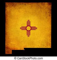 grunge, état, mexique, américain, nouveau, contour etats-unis, insertion, carte, effet, drapeau