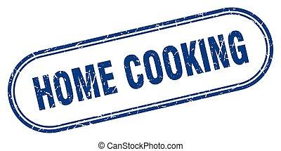 grunge, étiquette, stamp., arrondi, cuisine, signe., maison, textured