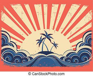 grunge, île, paradis, papier, fond, soleil