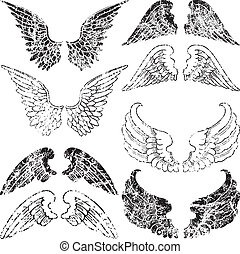 grunge, ailes, ange