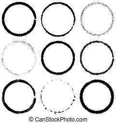 grunge, anneaux, ensemble