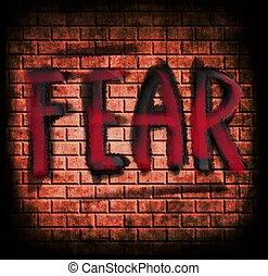 grunge, brique, peur, mur, concept