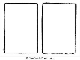 grunge, cadre, deux, bords, vecteur, pellicule