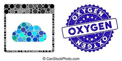 grunge, collage, icône, oxygène, calendrier, nuage, page, cachet