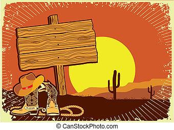 .grunge, coucher soleil, occidental, fond, cowboy's, sauvage, paysage