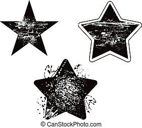 grunge, ensemble, vecteur, conception, endommagé, étoile, élément