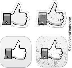grunge, facebook, il, aimer, bouton