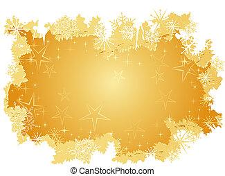 grunge, fond, neige, doré, étoiles, flocons