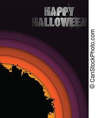 grunge, halloween, -, vecteur, fond, cercle