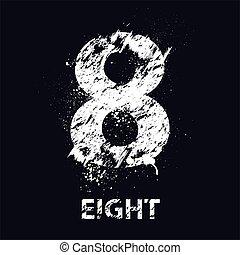 grunge, huit, nombre