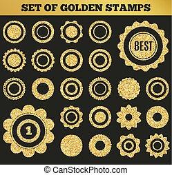 grunge, illustration, ensemble, vecteur, doré, rond, shapes., stamp.